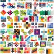 Big set of infographic modern templates - squares — Stock Vector