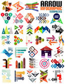 Set of geometric shape arrow info templates — Stock Vector