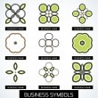 Abstract business green geometric symbols icon set — Stock Vector