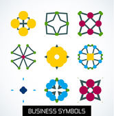 Business symbols icon set. Geometric concept — Stock Vector