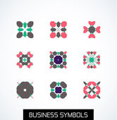 Minimal flat geometric business symbols. Icon set — Stock Vector