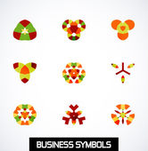 Abstract geometric business symbols. Icon set — Stock Vector