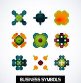 Colorful geometric business symbols. Icon set — Cтоковый вектор