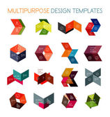 Collection of paper arrow multipurpose templates — Stock Vector