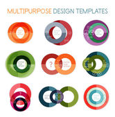Collection of circle shaped multipurpose templates — Stock Vector