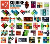 Huge set of square infographic templates #2 — Stock Vector