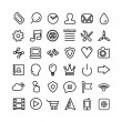 Web line icon set. Thin icons isolated on white — Stock Vector