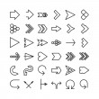 Vector arrow thin line icon set. Flat design — Stock Vector #40094545