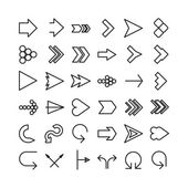 Vector arrow thin line icon set. Flat design — Stock Vector