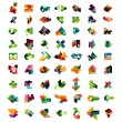 Set of colorful abstract geometric shapes — Stock Vector