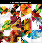 Collection of geometric shape abstract backgrounds — Stock vektor