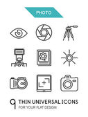 Collection of photo trendy thin line icons — Stock Vector