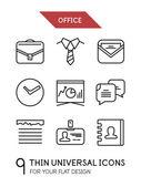 Verzameling van office trendy dunne lijn icons — Stockvector