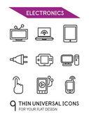 Electronics thin line icon set — Stock Vector