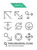 Arrow thin line icon set — Stock Vector