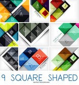 Set of square shaped geometrical backgrounds — Stock Vector