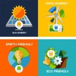 Set of flat design concepts - green energy — Stock Vector