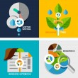 Set of flat design concepts - nature research — Vector de stock  #42650483