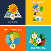 Set of flat design concepts - green energy — Vector de stock