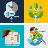 Set of flat design concepts - nature research — Stock Vector