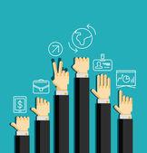 Businessman's hands, gestures — Stock Vector