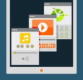 Tablet apps trendy flat design — Stock Vector