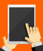 Hand holding smart phone trendy flat design — Stock Vector