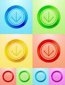 Diseño del botón círculo plano vector — Vector de stock