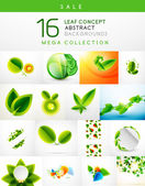 Mega collection of leaf abstract backgrounds — Stock Vector