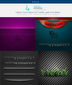 Collection of various vector textures and dividers — Stock Vector