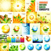 Various nature autumn and summer concepts — Stock Vector