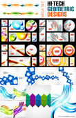 Mega collection of various abstract designs — Stock Vector