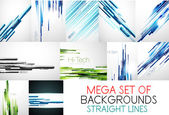 Mega collection of straight lines backgrounds — Stock Vector