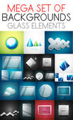 Vector mega collection of glass elements — Vetorial Stock
