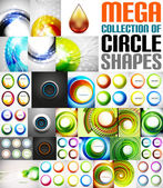 Mega collection of circle shaped compositions — Stock Vector