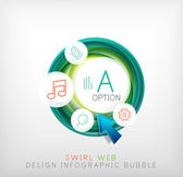 Swirl web design infographic bubble - flat concept — Stock Vector
