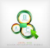 Swirl web design infographic bubble - flat concept — Stock Vector