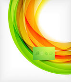 Green and orange wave abstract background — Cтоковый вектор