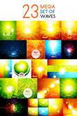 Mega collection of warm shiny backgrounds — Stock Vector