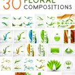 Mega collection of vector green leaf compositions — Stock Vector #47180687