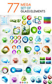 Set of glass abstract shapes design elements — Stock Vector