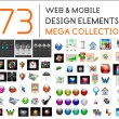 Mega collection of web mobile design elements — Stock Vector