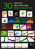 Huge mega collection of 30 abstract backgrounds — Stock Vector