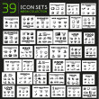 Mega collection of black glossy icon sets — Stock Vector #48207633