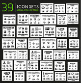 Mega collection of black glossy icon sets — Stock Vector
