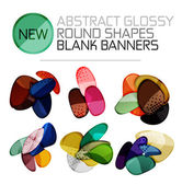 Abstract vector glossy round shape banners — Stock Vector