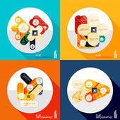 Geometric infographic set in trendy flat style — ストックベクタ