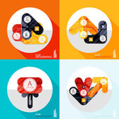 Geometric infographic set in trendy flat style — 图库矢量图片