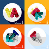 Geometric infographic set in trendy flat style — Vector de stock