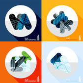 Geometric infographic set in trendy flat style — Vecteur